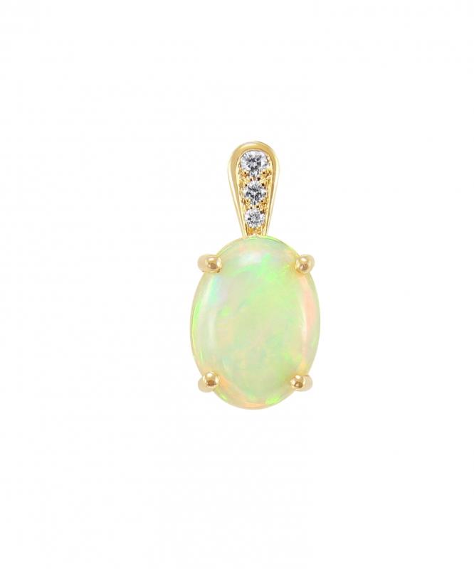 Pendentif Opale Ovale 10x8mm et Diamant Or Jaune