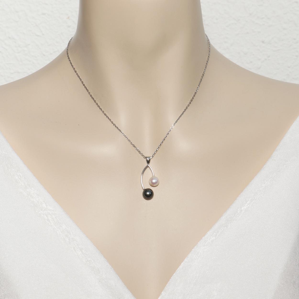 valeur formidable design intemporel outlet à vendre Pendentif Or Blanc 750 Perle de Tahiti et Perle blanche Ref. 41440 |  Bijouterie Trabbia Vuillermoz