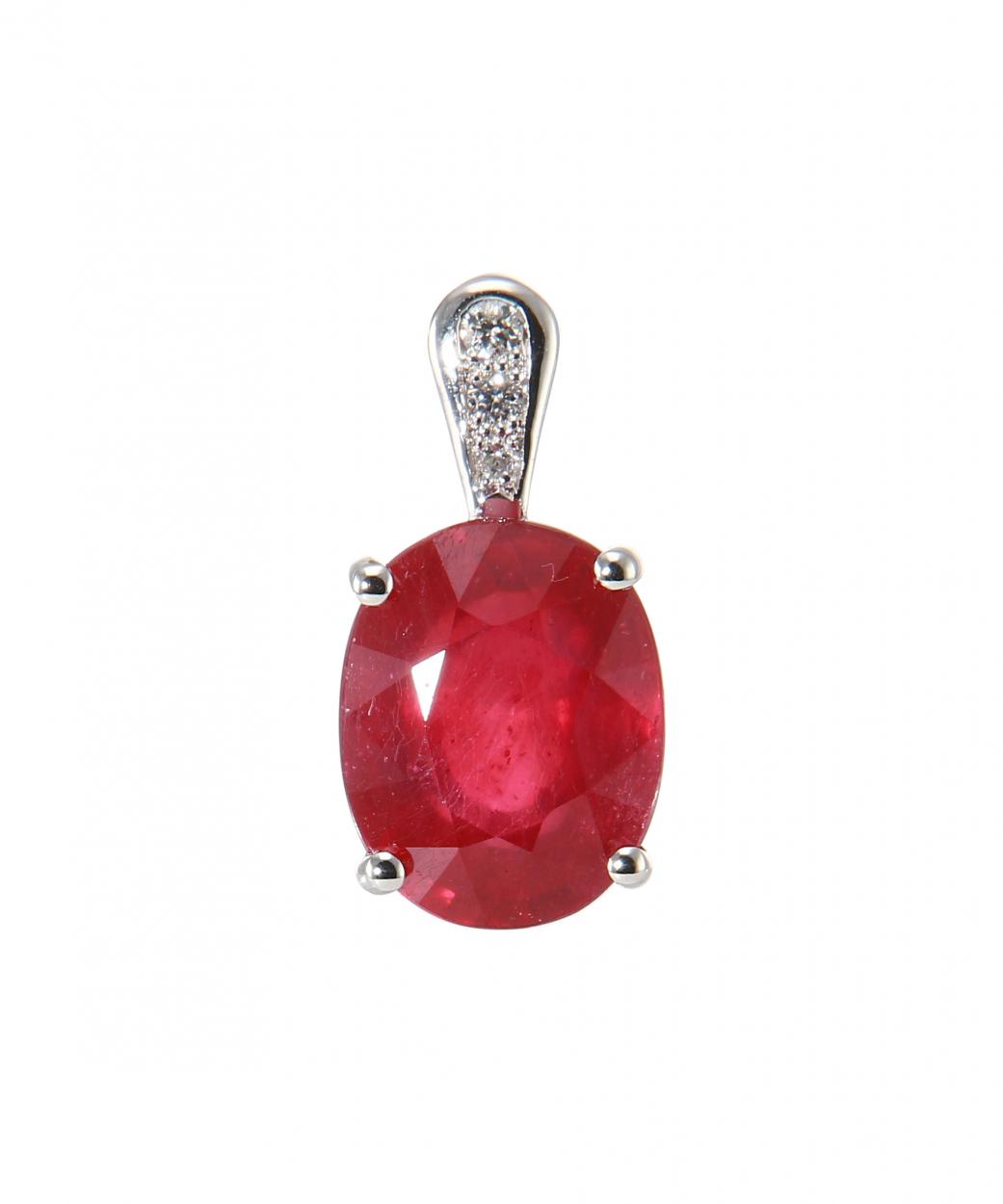 pendentif or blanc 750 rubis trait ovale de 10x8 mm et diamants ref 47300. Black Bedroom Furniture Sets. Home Design Ideas