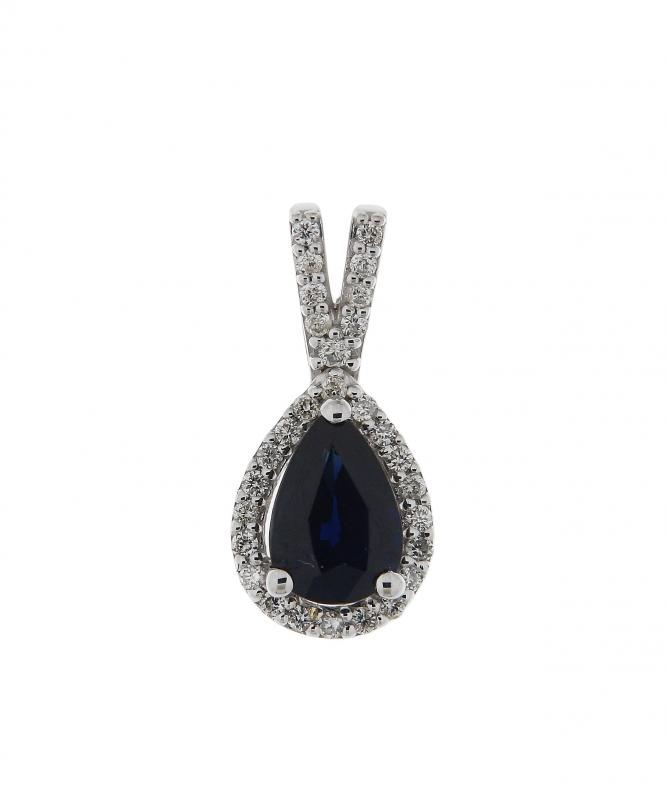 pendentif or blanc diamant saphir bijoux la mode. Black Bedroom Furniture Sets. Home Design Ideas