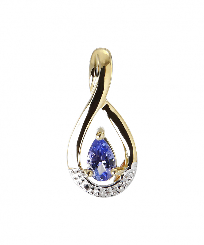 7ef57710d88 Pendentif Or jaune 375 Tanzanite Poire 5x3mm et Diamant Ref. 46278