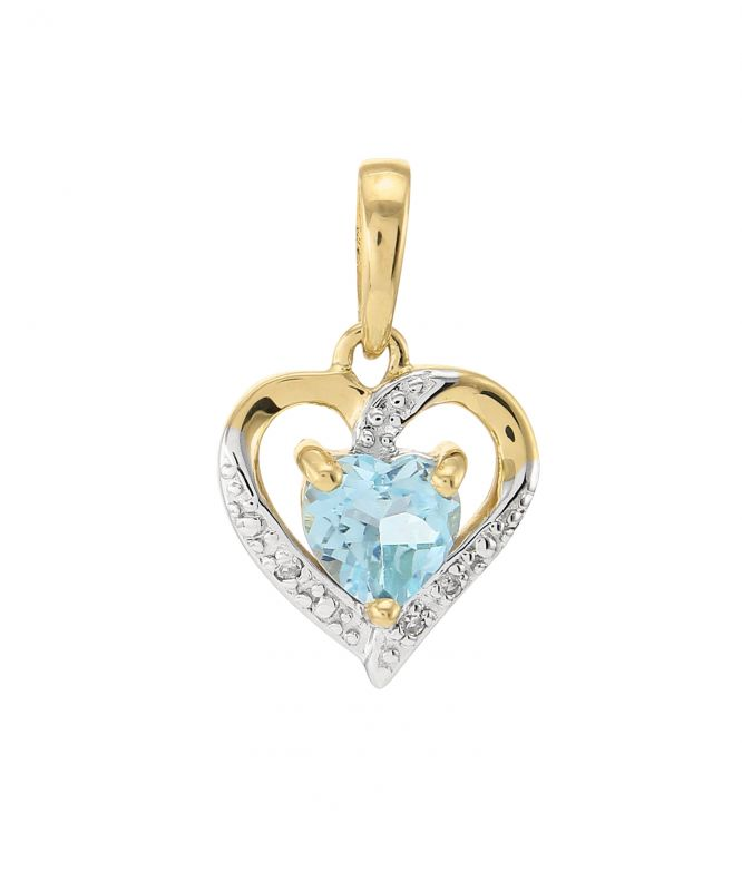 pendentif or jaune 375 topaze bleue coeur 5x5mm et diamant ref 43369. Black Bedroom Furniture Sets. Home Design Ideas