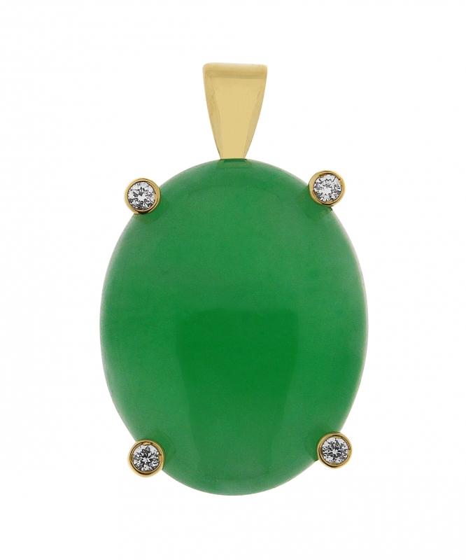 pour toute la famille 60% pas cher magasin en ligne Pendentif Or Jaune Jade Ovale 18x15mm et Diamant Ref. 34253 | Bijouterie  Trabbia Vuillermoz