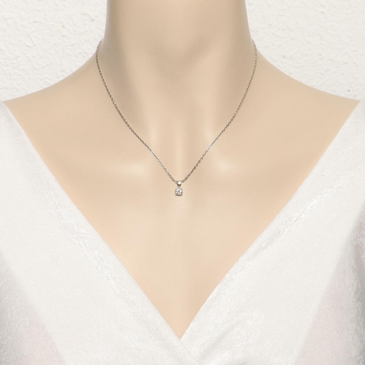 pendentif solitaire or blanc 750 diamant ki1 ref 44636. Black Bedroom Furniture Sets. Home Design Ideas