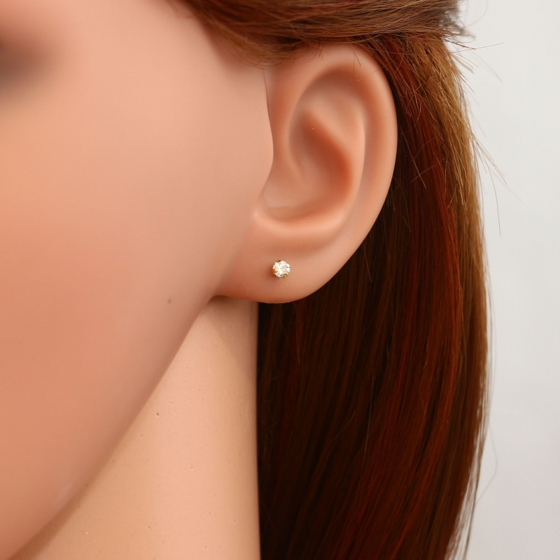 Puces d'oreilles Oxyde de zirconium 3mm Or Jaune Ref. 17532